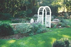 Stone Wall and Arbor Installation