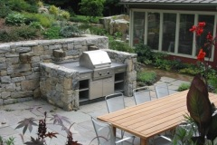 Custom Designed Outdoor Grill, Flagstone Patio and Plantings
