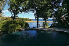 What a view!  Pool with side planting.
