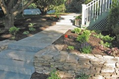 Granite Steps With Flagstone Path and Fieldstone Wall